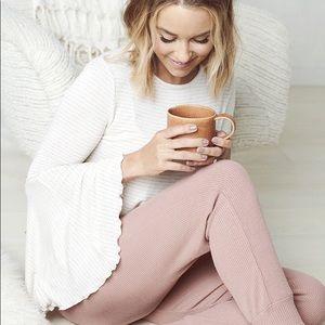 LC Lauren Conrad Weekend Flare Sleeve Top Cream